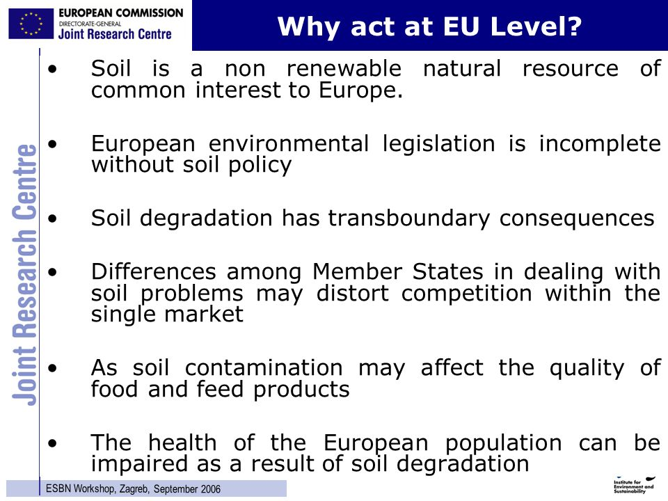 6 ESBN Workshop, Zagreb, September 2006 Soil is a non renewable natural resource of common interest to Europe.