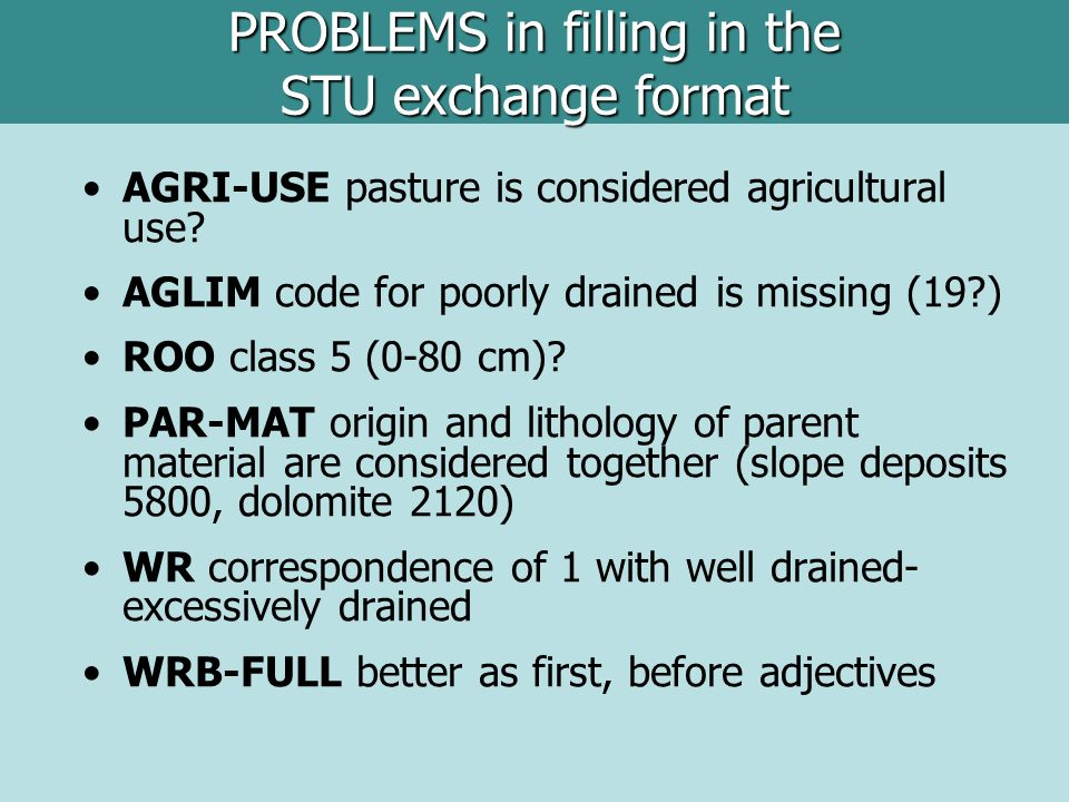 AGRI-USE pasture is considered agricultural use? AGLIM code for poorly drained is missing (19?) ROO class 5 (0-80 cm)? PAR-MAT origin and lithology of