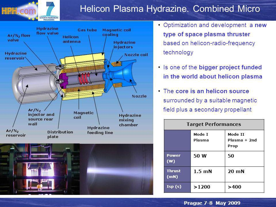 Prague 7-8 May 2009 Helicon Plasma Hydrazine. Combined Micro Optimization and development a new type of space plasma thruster based on helicon-radio-f