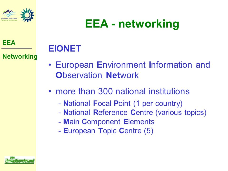 EIONET European Environment Information and Observation Network more than 300 national institutions ­ National Focal Point (1 per country) ­ National