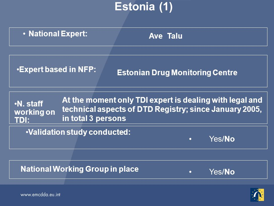 Estonia (1) National Expert: Ave Talu Yes/No National Working Group in place Validation study conducted: N. staff working on TDI: At the moment only T