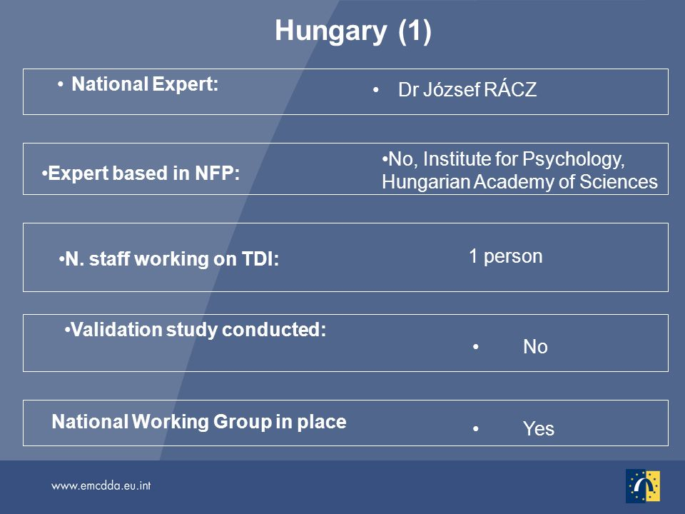 Hungary (1) National Expert: Dr József RÁCZ No National Working Group in place Validation study conducted: N. staff working on TDI: 1 person Yes Exper