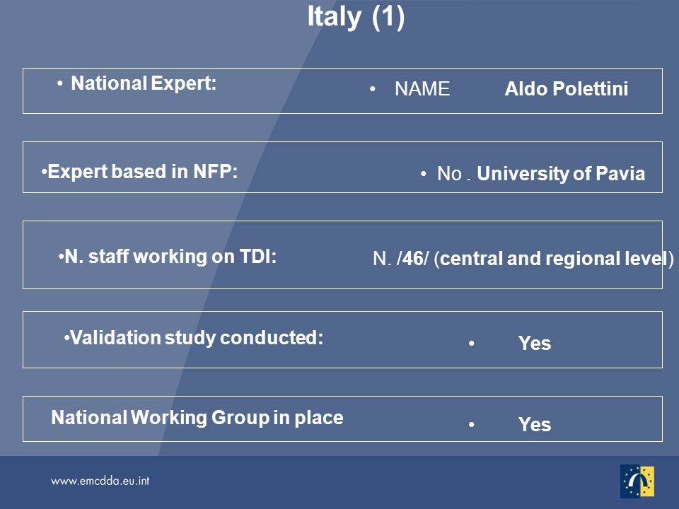 Italy (1) National Expert: NAMEAldo Polettini Yes National Working Group in place Validation study conducted: N. staff working on TDI: N. /46/ (centra
