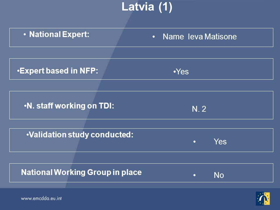 Latvia (1) National Expert: Name Ieva Matisone Yes National Working Group in place Validation study conducted: N. staff working on TDI: N. 2 No Expert