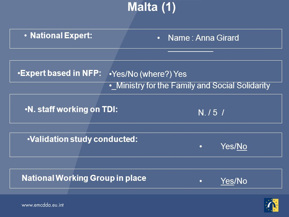 Malta (1) National Expert: Name : Anna Girard __________ Yes/No National Working Group in place Validation study conducted: N. staff working on TDI: N