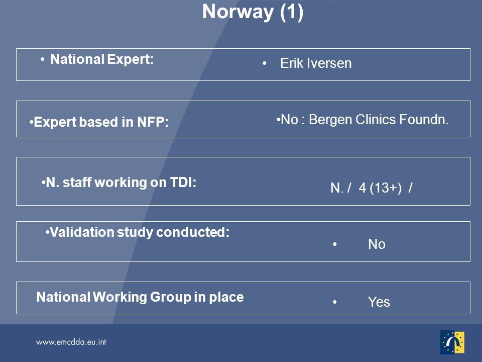 Norway (1) National Expert: Erik Iversen No National Working Group in place Validation study conducted: N. staff working on TDI: N. / 4 (13+) / Yes Ex