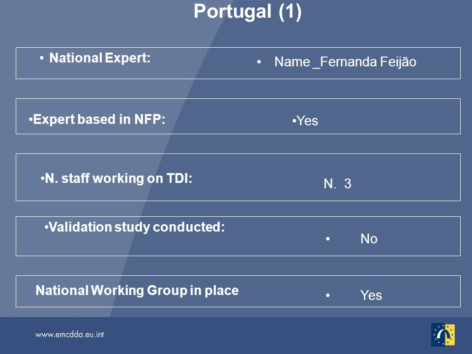 Portugal (1) National Expert: Name _Fernanda Feijão No National Working Group in place Validation study conducted: N.