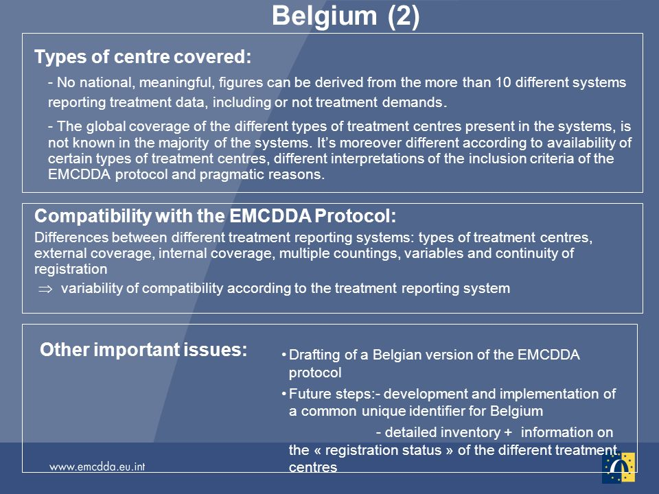 Belgium (2) Types of centre covered: - No national, meaningful, figures can be derived from the more than 10 different systems reporting treatment data, including or not treatment demands.