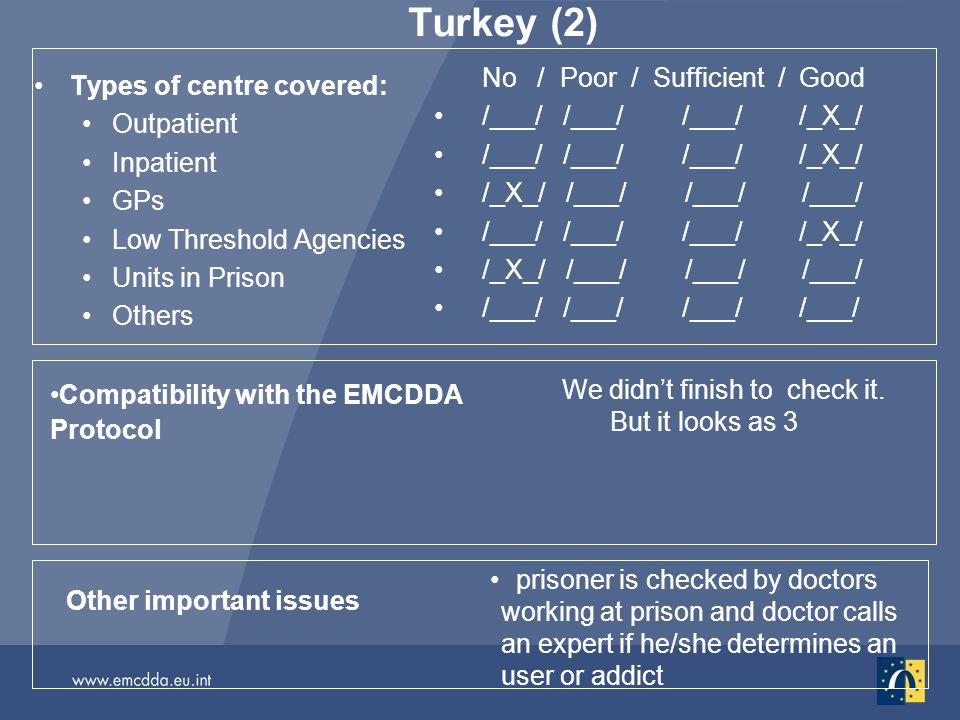 Turkey (2) Types of centre covered: Outpatient Inpatient GPs Low Threshold Agencies Units in Prison Others No / Poor / Sufficient / Good /___/ /___/ /___/ /_X_/ /_X_/ /___/ /___/ /___/ /___/ /___/ /___/ /_X_/ /_X_/ /___/ /___/ /___/ /___/ /___/ Other important issues prisoner is checked by doctors working at prison and doctor calls an expert if he/she determines an user or addict Compatibility with the EMCDDA Protocol We didnt finish to check it.