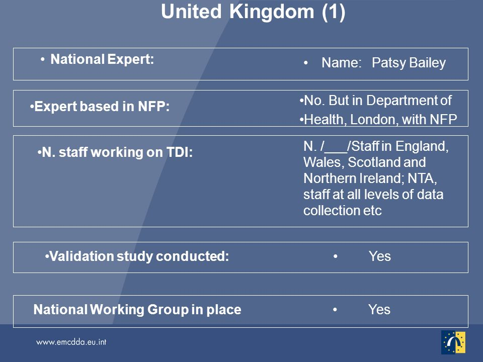 United Kingdom (1) National Expert: Name: Patsy Bailey Yes National Working Group in place Validation study conducted: N. staff working on TDI: N. /__