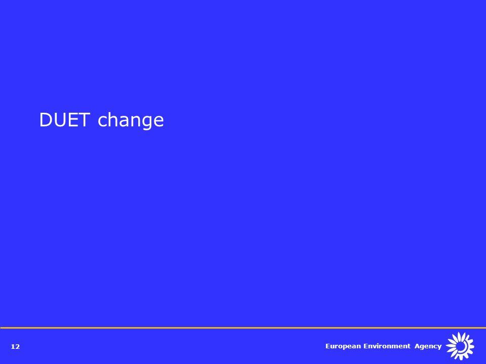European Environment Agency 12 DUET change