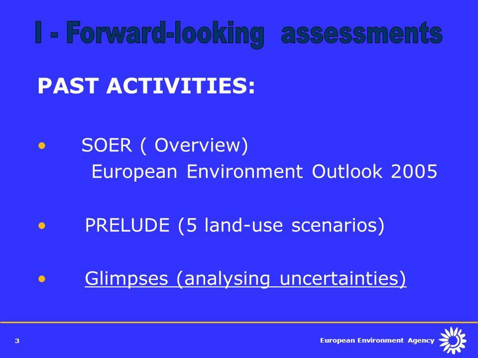 European Environment Agency 3 PAST ACTIVITIES: SOER ( Overview) European Environment Outlook 2005 PRELUDE (5 land-use scenarios) Glimpses (analysing u