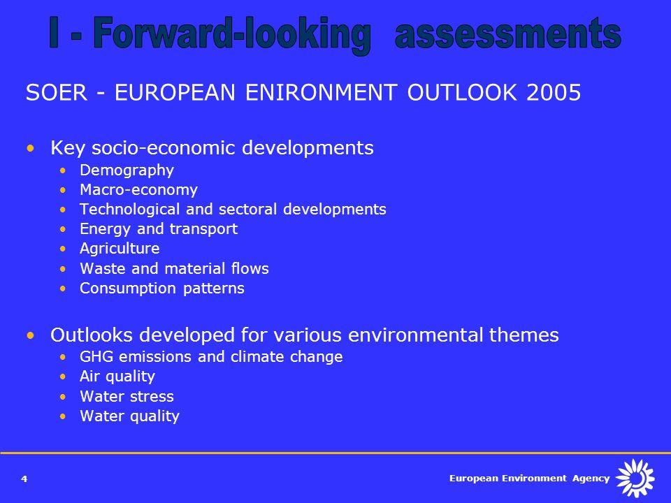 European Environment Agency 4 SOER - EUROPEAN ENIRONMENT OUTLOOK 2005 Key socio-economic developments Demography Macro-economy Technological and secto
