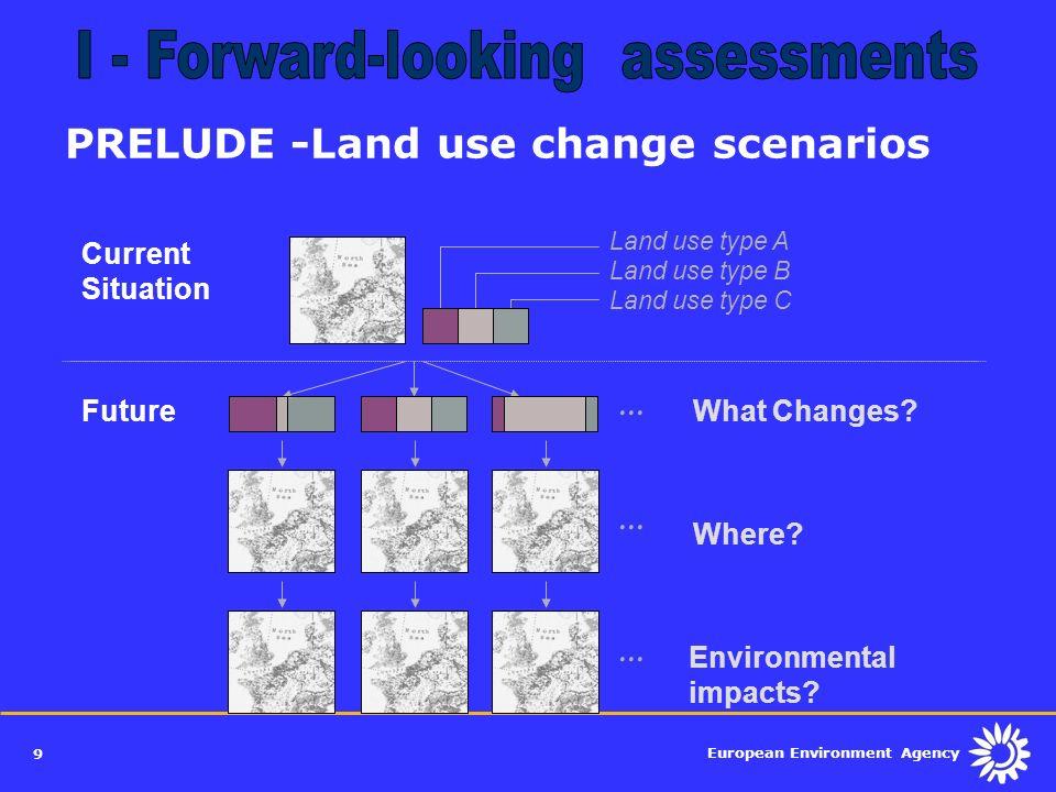 European Environment Agency 9 Land use type A Land use type B Land use type C Current Situation PRELUDE -Land use change scenarios Where?... FutureWha