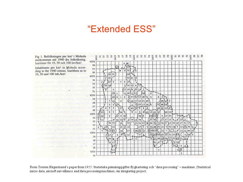 Extended ESS From Torsten Hägerstrands paper from 1955: Statistiska primäruppgifter flygkartering och data processing – maskiner.