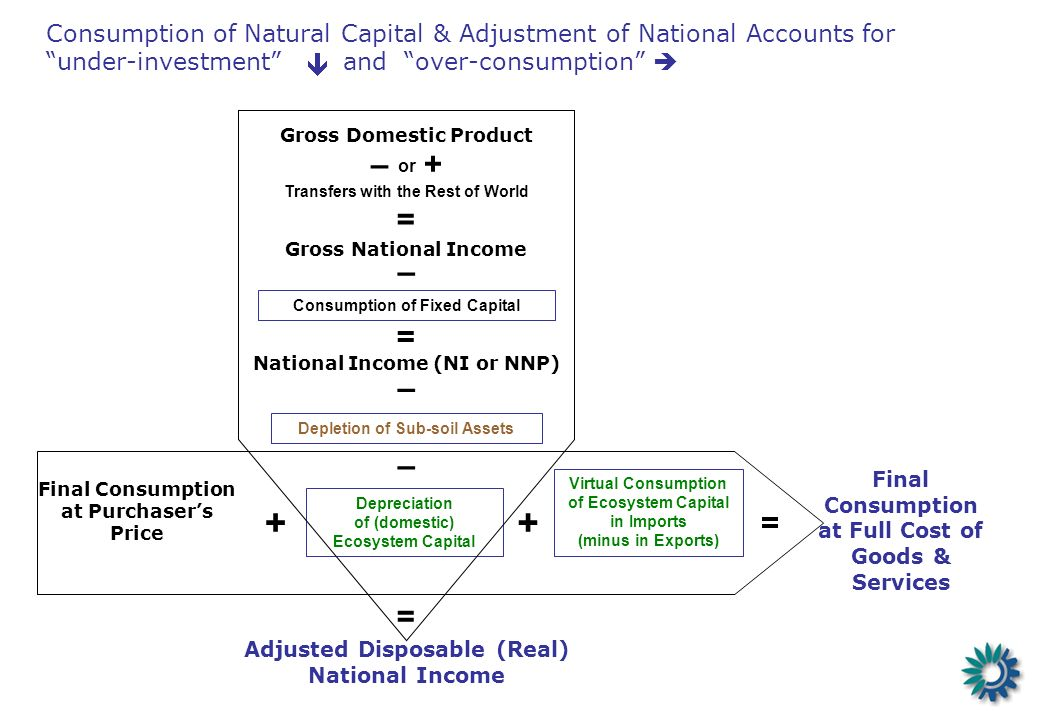 Consumption of Natural Capital & Adjustment of National Accounts for under-investment and over-consumption Final Consumption at Full Cost of Goods & S