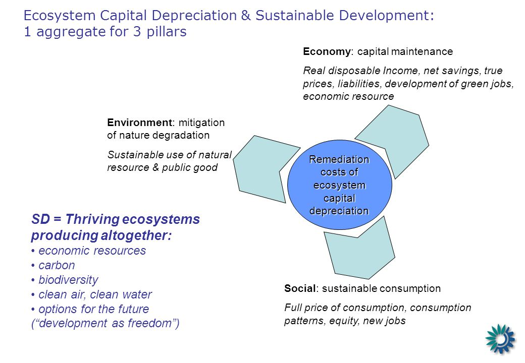 Ecosystem Capital Depreciation & Sustainable Development: 1 aggregate for 3 pillars Remediation costs of ecosystem capital depreciation Economy: capit