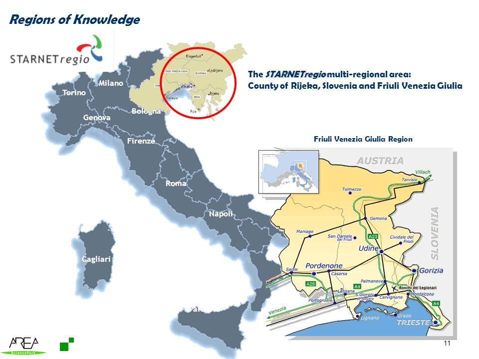 11 Friuli Venezia Giulia Region Trieste Milano Roma Napoli Venezia Firenze Torino Palermo Cagliari Genova Bologna Regions of Knowledge STARNETregio The STARNETregio multi-regional area: County of Rijeka, Slovenia and Friuli Venezia Giulia