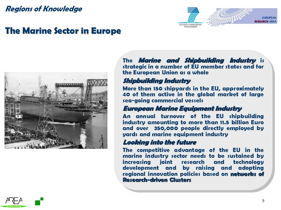 9 Regions of Knowledge The Marine Sector in Europe Marine and Shipbuilding Industry The Marine and Shipbuilding Industry is strategic in a number of EU member states and for the European Union as a whole Shipbuilding Industry More than 150 shipyards in the EU, approximately 40 of them active in the global market of large sea-going commercial vessels European Marine Equipment Industry An annual turnover of the EU shipbuilding industry amounting to more than 11.5 billion Euro and over 350,000 people directly employed by yards and marine equipment industry Looking into the future networks of Research-driven Clusters The competitive advantage of the EU in the marine industry sector needs to be sustained by increasing joint research and technology development and by raising and adopting regional innovation policies based on networks of Research-driven Clusters Marine and Shipbuilding Industry The Marine and Shipbuilding Industry is strategic in a number of EU member states and for the European Union as a whole Shipbuilding Industry More than 150 shipyards in the EU, approximately 40 of them active in the global market of large sea-going commercial vessels European Marine Equipment Industry An annual turnover of the EU shipbuilding industry amounting to more than 11.5 billion Euro and over 350,000 people directly employed by yards and marine equipment industry Looking into the future networks of Research-driven Clusters The competitive advantage of the EU in the marine industry sector needs to be sustained by increasing joint research and technology development and by raising and adopting regional innovation policies based on networks of Research-driven Clusters