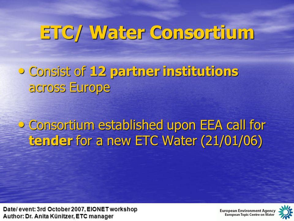 Date/ event: 3rd October 2007, EIONET workshop Author: Dr. Anita Künitzer, ETC manager
