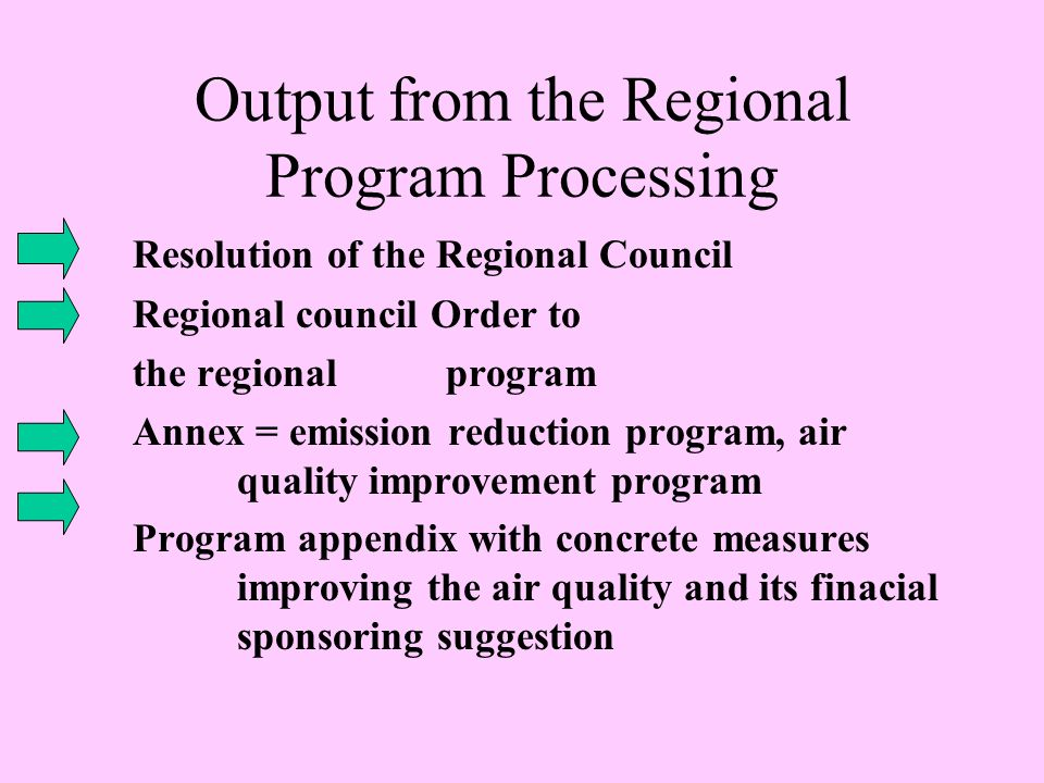 Output from the Regional Program Processing Resolution of the Regional Council Regional council Order to the regional program Annex = emission reduction program, air quality improvement program Program appendix with concrete measures improving the air quality and its finacial sponsoring suggestion