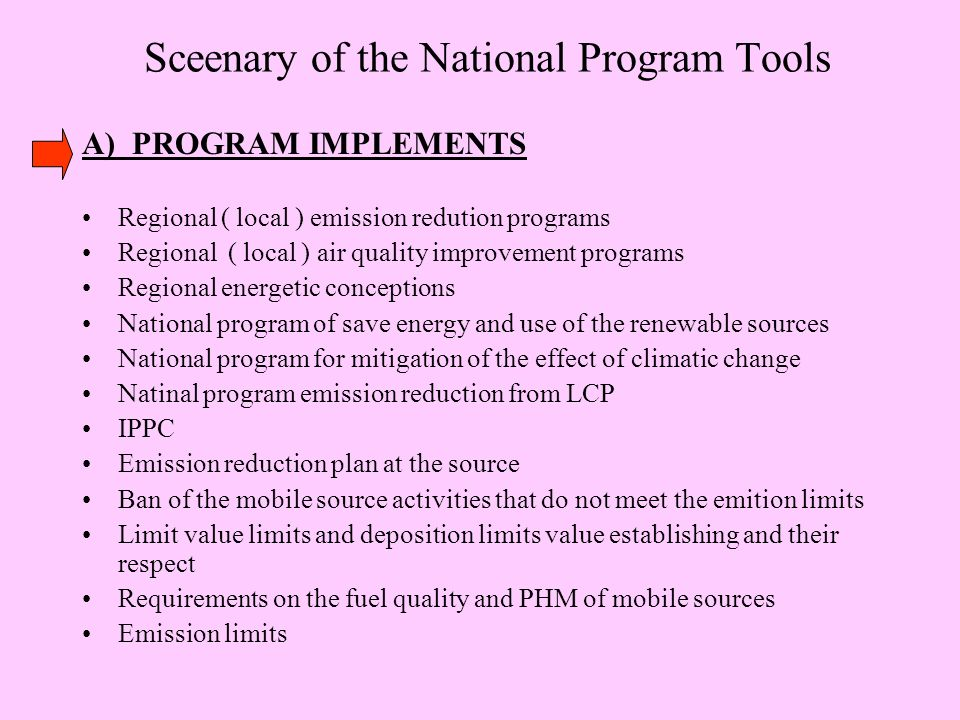 Sceenary of the National Program Tools A) PROGRAM IMPLEMENTS Regional ( local ) emission redution programs Regional ( local ) air quality improvement programs Regional energetic conceptions National program of save energy and use of the renewable sources National program for mitigation of the effect of climatic change Natinal program emission reduction from LCP IPPC Emission reduction plan at the source Ban of the mobile source activities that do not meet the emition limits Limit value limits and deposition limits value establishing and their respect Requirements on the fuel quality and PHM of mobile sources Emission limits
