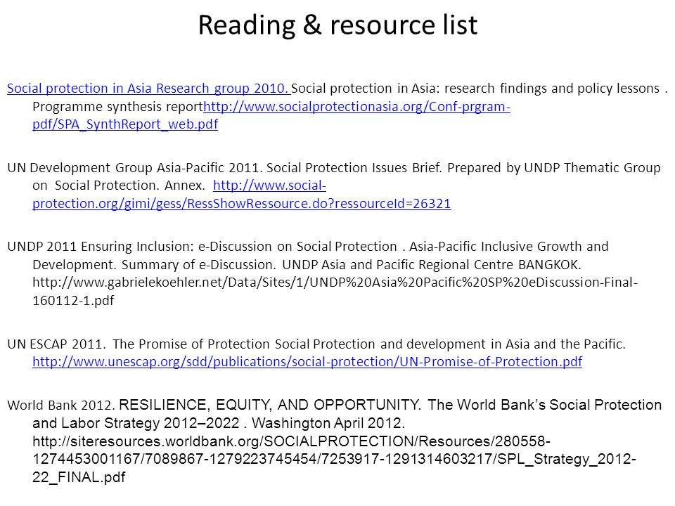 Reading & resource list Social protection in Asia Research group 2010. Social protection in Asia Research group 2010. Social protection in Asia: resea