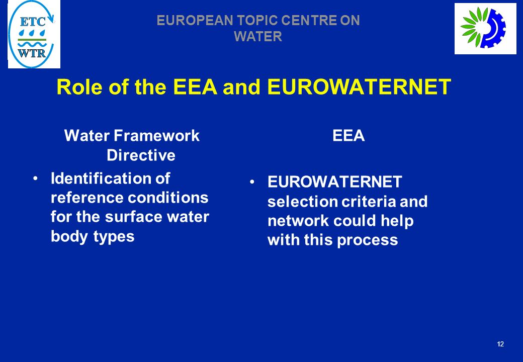 12 EUROPEAN TOPIC CENTRE ON WATER Role of the EEA and EUROWATERNET Water Framework Directive Identification of reference conditions for the surface water body types EEA EUROWATERNET selection criteria and network could help with this process