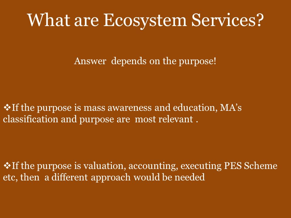 Ecosystem Services require Indicators Indicators about the physical extent, condition and productivity of resources (e.g.