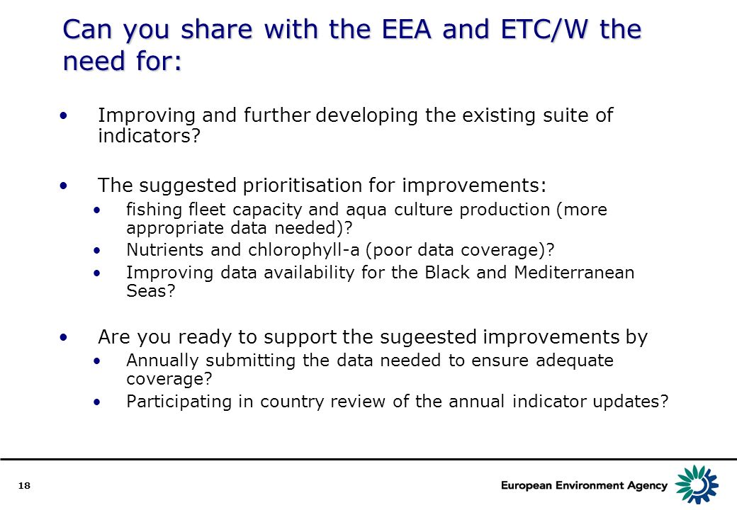 18 Can you share with the EEA and ETC/W the need for: Improving and further developing the existing suite of indicators.