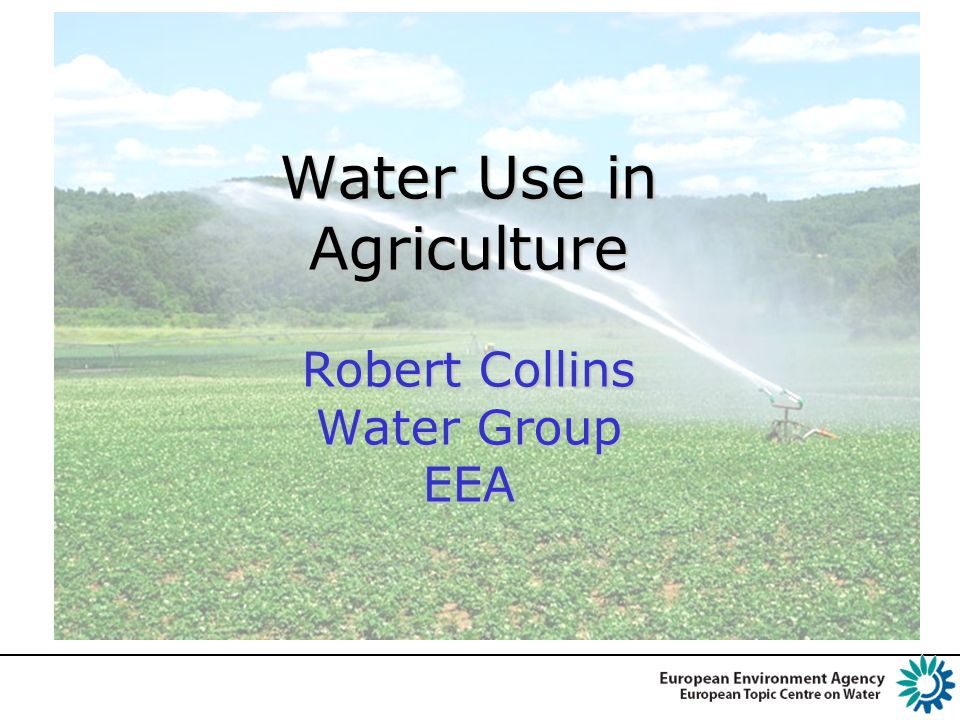 Water Use in Agriculture 2009 EEA Report SoE-WISE Reporting Water Accounts WFD expert group on Agriculture