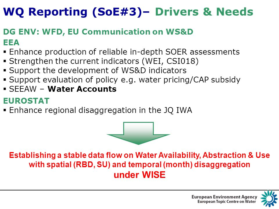 DG ENV: WFD, EU Communication on WS&D WQ Reporting (SoE#3)– Drivers & Needs EEA Enhance production of reliable in-depth SOER assessments Strengthen th