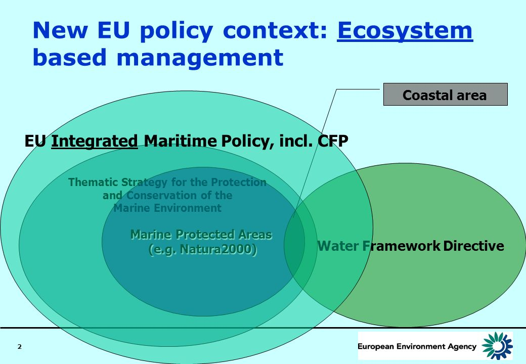 2 New EU policy context: Ecosystem based management Thematic Strategy for the Protection and Conservation of the Marine Environment Marine Protected A