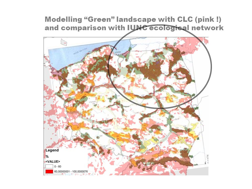 Modelling Green landscape with CLC (pink !) and comparison with IUNC ecological network