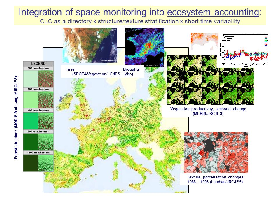 Integration of space monitoring into ecosystem accounting: CLC as a directory x structure/texture stratification x short time variability Vegetation productivity, seasonal change (MERIS/JRC-IES) Fires Droughts (SPOT4-Vegetation/ CNES – Vito) Forest structure (MODIS-Multi-angle/JRC-IES) Texture, parcelisation changes 1988 – 1998 (Landsat/JRC-IES)