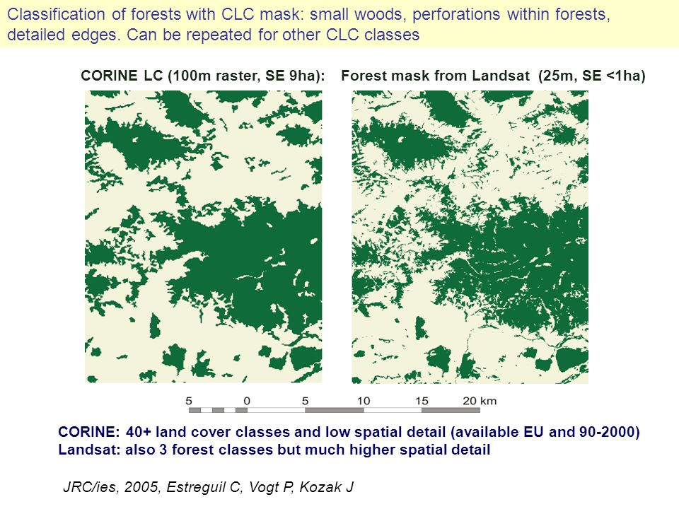 CORINE LC (100m raster, SE 9ha):Forest mask from Landsat (25m, SE <1ha) CORINE: 40+ land cover classes and low spatial detail (available EU and 90-2000) Landsat: also 3 forest classes but much higher spatial detail JRC/ies, 2005, Estreguil C, Vogt P, Kozak J Classification of forests with CLC mask: small woods, perforations within forests, detailed edges.