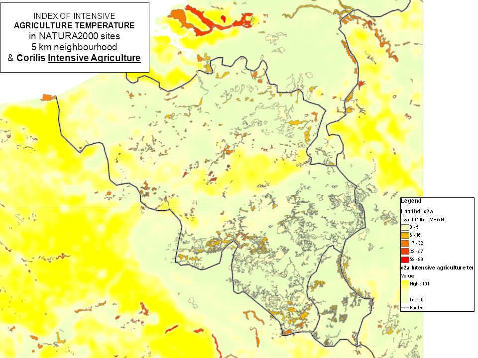 INDEX OF INTENSIVE AGRICULTURE TEMPERATURE in NATURA2000 sites 5 km neighbourhood & Corilis Intensive Agriculture