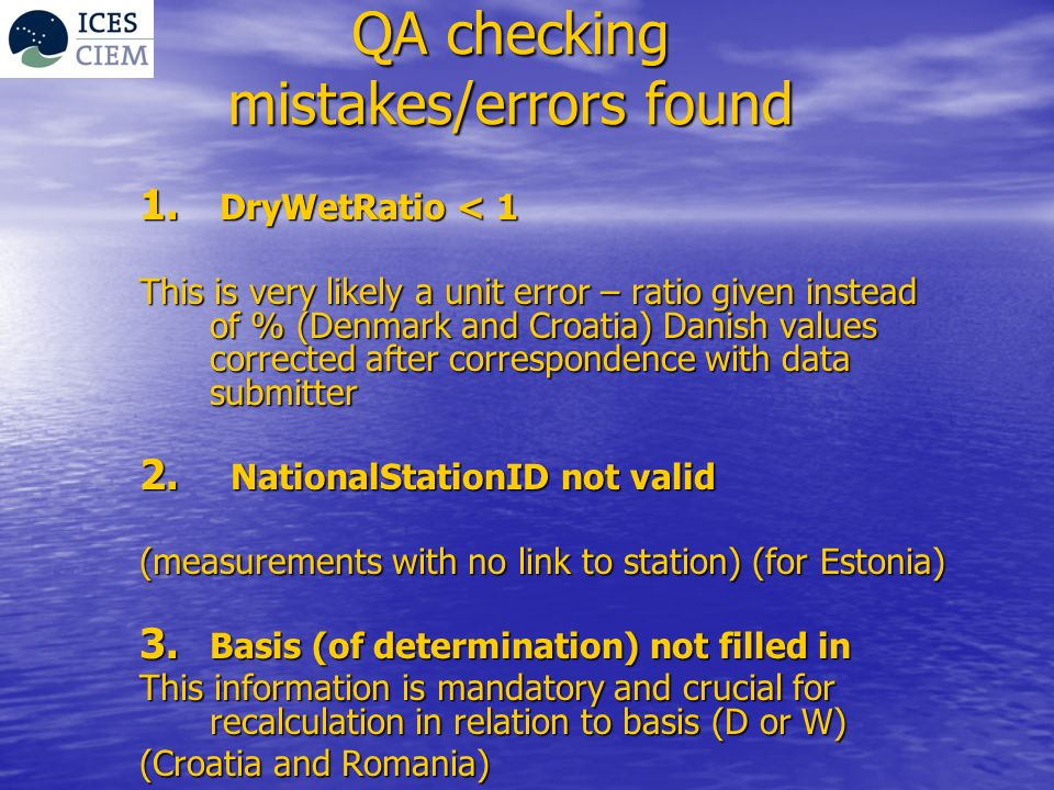 QA checking mistakes/errors found 1.