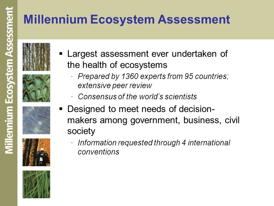Millennium Ecosystem Assessment Largest assessment ever undertaken of the health of ecosystems ·Prepared by 1360 experts from 95 countries; extensive