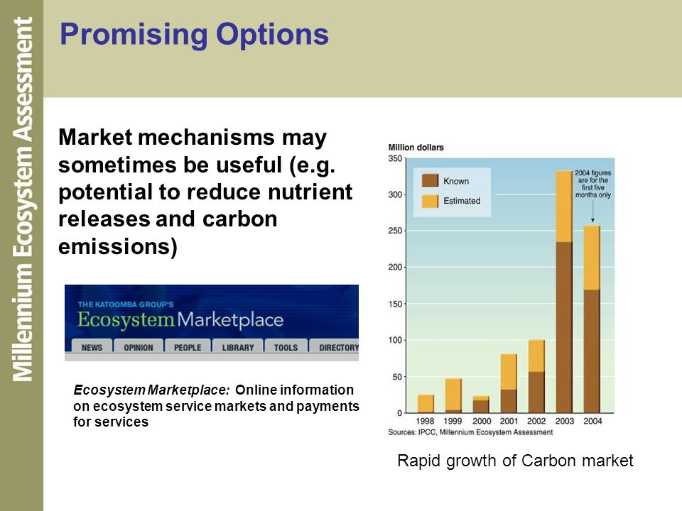 Market mechanisms may sometimes be useful (e.g. potential to reduce nutrient releases and carbon emissions) Promising Options Rapid growth of Carbon m