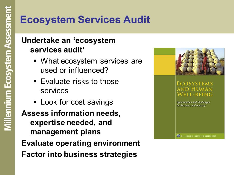 Ecosystem Services Audit Undertake an ecosystem services audit What ecosystem services are used or influenced? Evaluate risks to those services Look f
