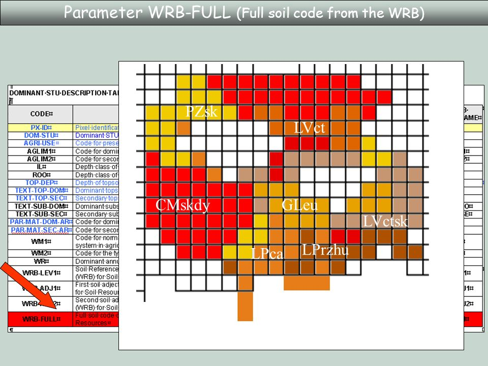 Parameter WRB-FULL (Full soil code from the WRB) LVct LVctsk LPrzhu PZsk LPca CMskdyGLeu