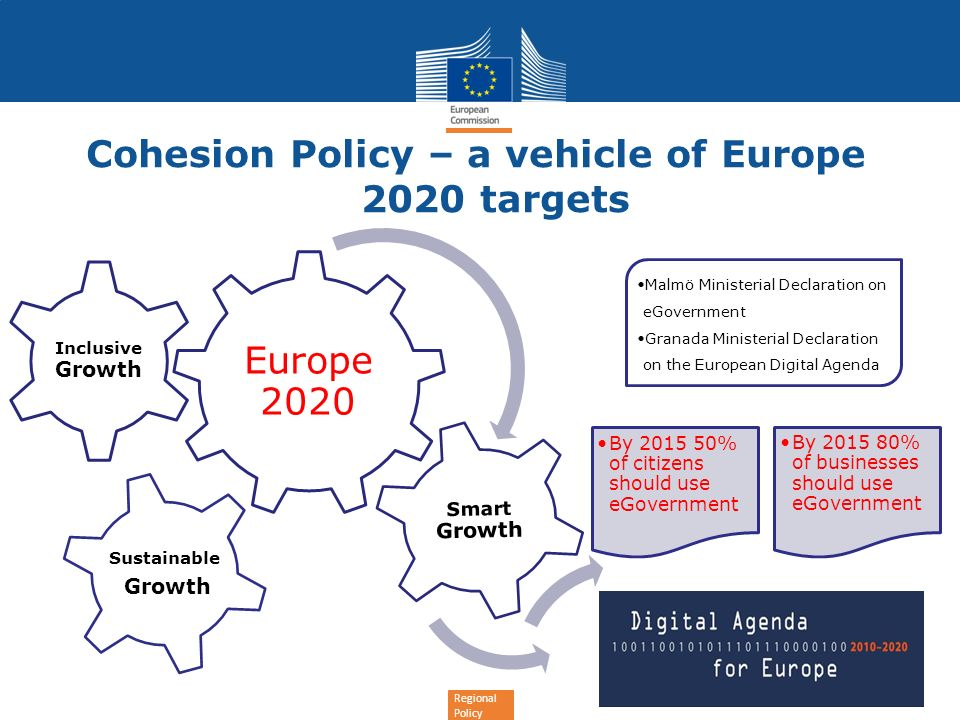 Regional Policy More on e-Cohesion Report «IT Implications Assessment of e-Cohesion Policy at EU/Member State level» http://ec.europa.eu/dgs/secretariat_general/admin_burden/docs/presentation_regio_en.pdf http://ec.europa.eu/dgs/secretariat_general/admin_burden/docs/presentation_regio_en.pdf EC support to MS/regions/programmes: building blocks on a business perspective https://www.yammer.com/regionetwork/groups/e-cohesionpolicy/uploaded_files 50 Q&A for ETC in cooperation with INTERACT http://www.interact-eu.net/downloads/5081/INTERACT_Publication___50_Questions_&_Answers_on_e- Cohesion_in_European_Territorial_Cooperation_Programmes___July_2012.pdf