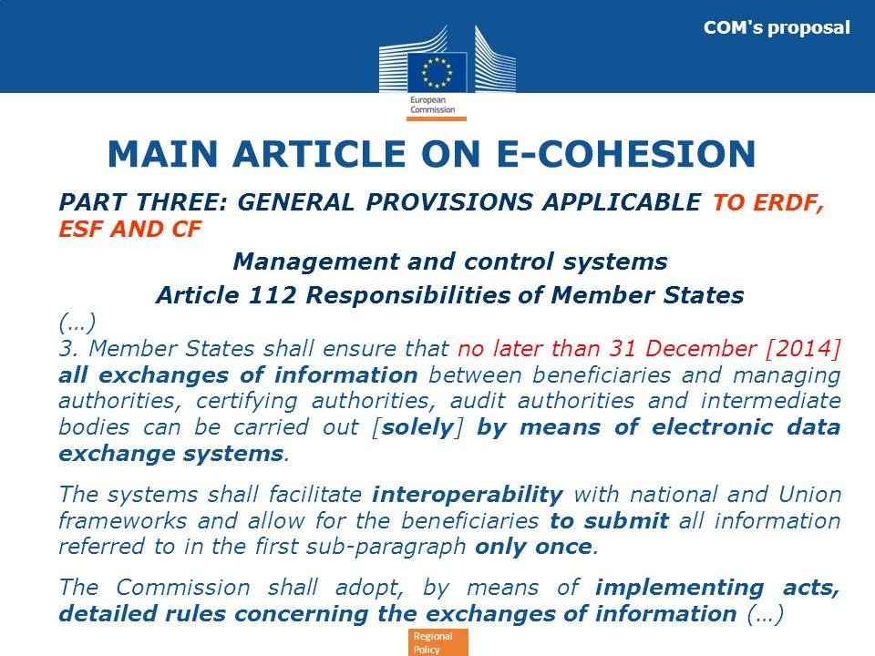 Regional Policy Christophe de Lassus Head of IT Unit, DG REGIO: christophe.de-lassus@ec.europa.eu e-Cohesion@ec.europa.eu e-Cohesion on Yammer: https://www.yammer.com/regionetwork/#/thre ads/inGroup?type=in_group&feedId=1534553