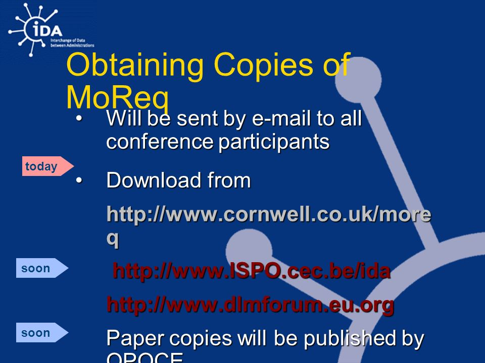 Obtaining Copies of MoReq Will be sent by e-mail to all conference participantsWill be sent by e-mail to all conference participants Download fromDown