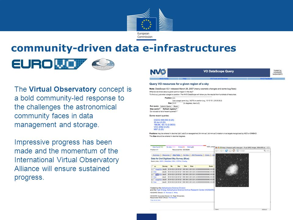 community-driven data e-infrastructures The Virtual Observatory concept is a bold community-led response to the challenges the astronomical community faces in data management and storage.