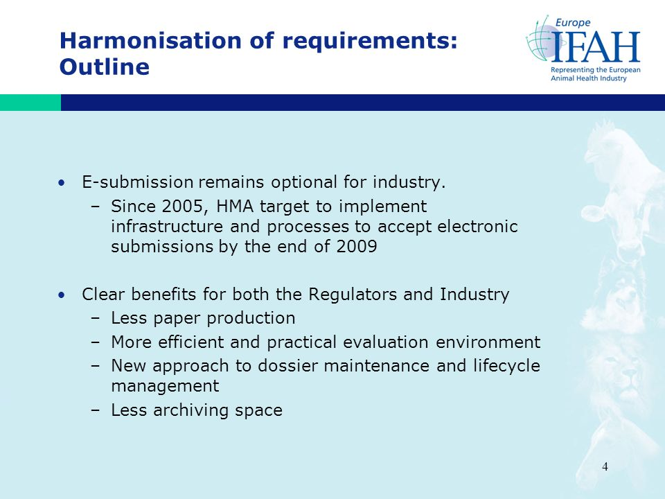 4 Harmonisation of requirements: Outline E-submission remains optional for industry.