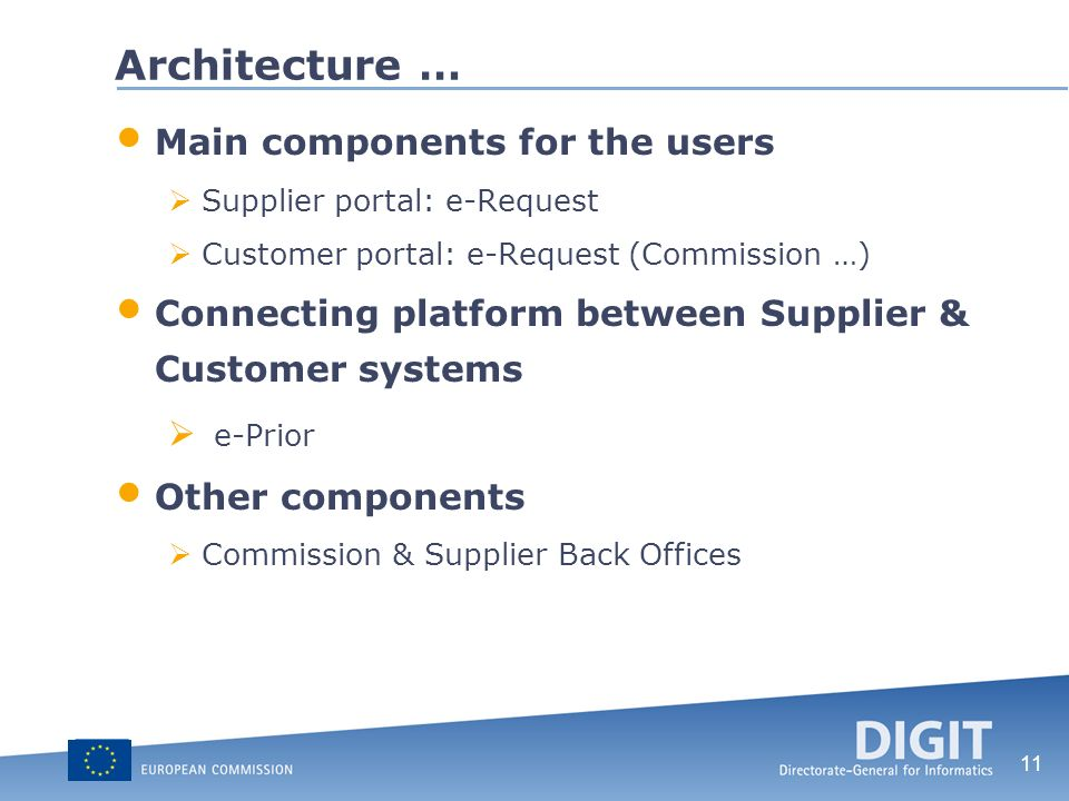 11 Architecture … Main components for the users Supplier portal: e-Request Customer portal: e-Request (Commission …) Connecting platform between Suppl