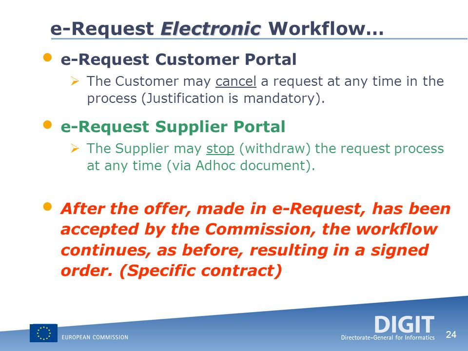 24 Electronic e-Request Electronic Workflow… e-Request Customer Portal The Customer may cancel a request at any time in the process (Justification is