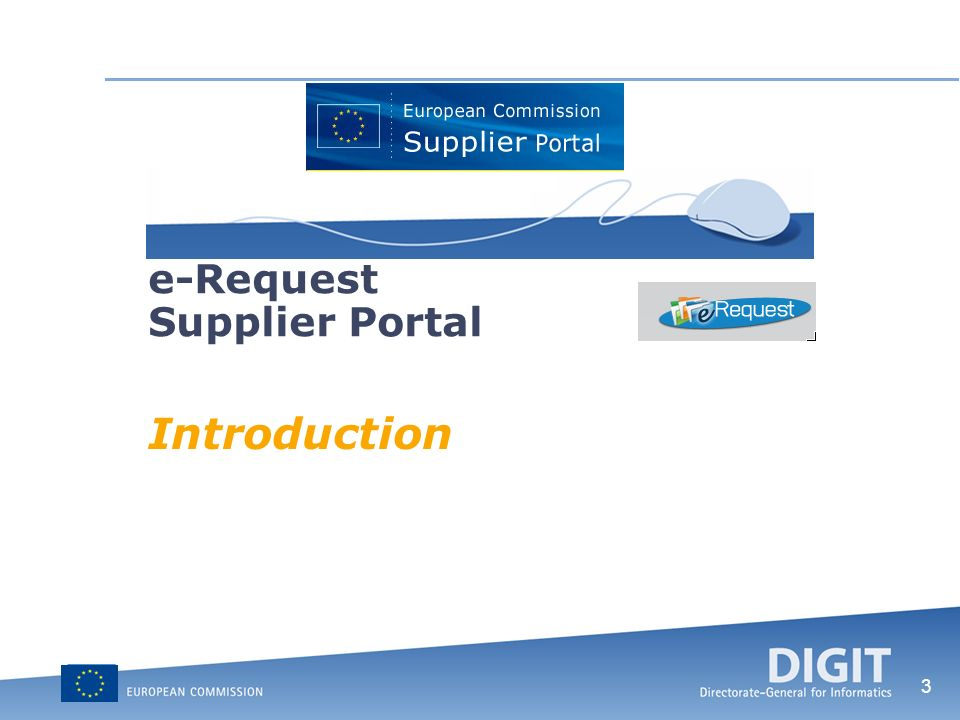 3 e-Request Supplier Portal Introduction